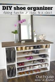 how to make a diy shoe organizer and rack for the closet i will preface to say the after pictures i shared of this are in my dining room