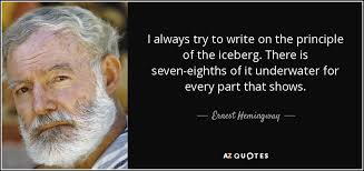 ernest hemingway quote i always try to write on the principle of  i always try to write on the principle of the iceberg there is seven