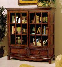 oak bookcase with glass doors bookcases designs solid wood