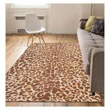 miami cocoa leopard animal print brown 5 ft x 7 ft area rug