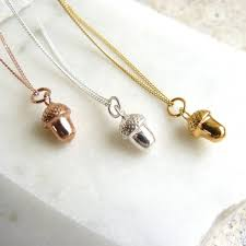 acorn charm necklace in gold or rose gold