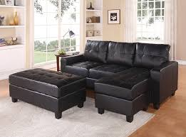 com acme lyssa black bonded leather sectional sofa with reversible chaise and ottoman kitchen dining