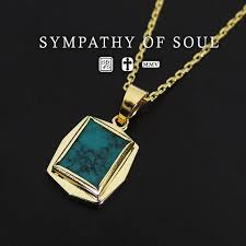sympathizer sea of seoul square turquoise pendant k18 yellow gold necklace set charm nature stone fashion men gap dis man and woman combined use shin pull