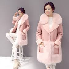 faux lamb fur coat women thickening warm faux suede fur leather overcoat with fake fox fur
