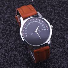 men watch faux leather watch