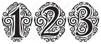 Numbers One Two And Three Tattoo Tribal Design