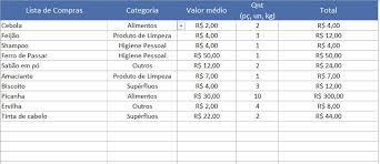 Planilha Lista De Compras No Excel 5 0