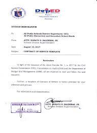 Sample Of Memoranda Unnumbered Memorandum S 2017 Contract Of Service