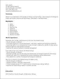 Biotech Resume Examples Sample Biotech Resume Zlatan Fontanacountryinn Com
