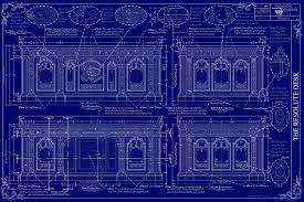 Furniture Drawing - The Resolute Desk Blueprints - Dark Blue by Kenneth  Perez