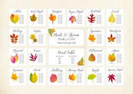 Fall Leaf Color Chart Autumn Leaf Seating Assignment Charts Fall Leaf Seating