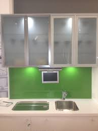 frosted glass cabinets simply designed kitchen