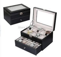 popular watch storage case for men buy cheap watch storage case black leather 20 grid mens watch display case glass top jewerly box organizer