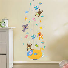 Monkey Growth Chart Wall Us 2 83 5 Off Underwater Monkey Tiger Fish Height Measure Wall Sticker For Kids Rooms Submarine Children Growth Chart Wall Art Decal Poster In Wall