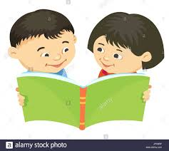 cartoon kids reading book boy isolated vector ilration asian asiatic