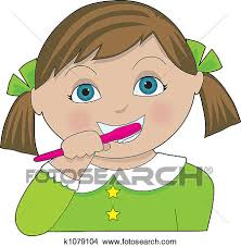 brushing teeth drawing. Contemporary Brushing A Little Girl With Pigtails Brushing Her Teeth And Brushing Teeth Drawing I