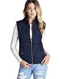 Women's Outerwear Vests | Amazon.com & Quilted Padding Vest With Suede Piping Details Sizes from S-3XL Adamdwight.com