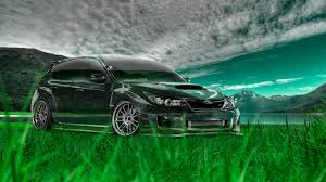 subaru wrx sti crystal nature car