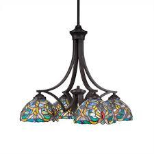 zilo dark granite four light chandelier with kaleidoscope tiffany glass