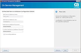 select the use existing database check box and select the backup file the database for unified self service is created during this installation