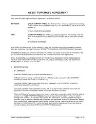 purchase agreement sample asset purchase agreement for a garage template sample form
