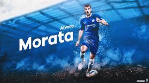 desktop wallpaper of spanish chelsea striker alvaro morata in the 2017 18 season