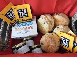 cornish cream tea her for 2 handmade freshly baked scones with jam roddas and cornish tea in a lovely seagr basket great gift to brighten anyones