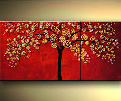3 piece abstract wall art modern red hand made tree flower canvas oil painting sets for living room office decoration in painting calligraphy from