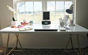 Large white office desk Beautiful White Perfect Home Office Decoration With White Diy Office Desk Beside Large Window Design Apronhanacom Diy Office Desk With Custom Designs That You Should Have At Home
