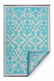 fab habitat indoor outdoor recycled plastic rug mat venice cream turquoise 1 of 5only 1 available