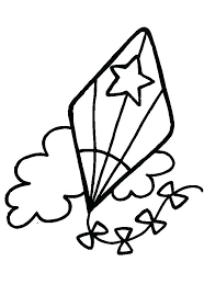 Kite Coloring Page Pages Kites With Image Star Free Printable