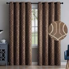 vcny aries 2 blackout window curtains 96 brown embossed trellis grommet panel pair d