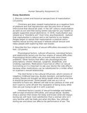 humansexuality   human sexuality assignment   essay questions   pages human sexuality