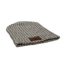 haberdasher knit beanie with leather patch thaberdasher