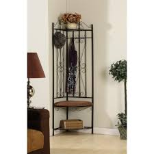 Coat Rack Canada Furniture Black Iron Corner Entryway Bench Using Brown Upholstered 83