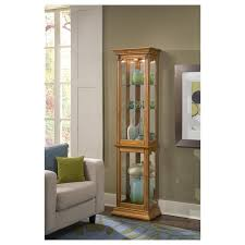 tall curio cabinet. Simple Tall Estate Oak Narrow Curio Cabinet Intended Tall E