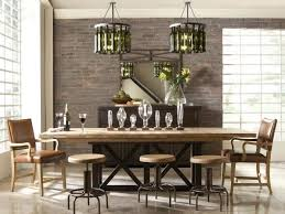 urban dining room with exposed brick walls and wine bottle chandeliers