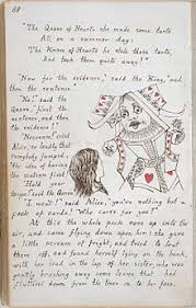 page from the original mcript copy of alice s adventures under ground 1864