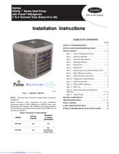 carrier 25hna infinity series manuals carrier 25hna infinity series installation instructions manual