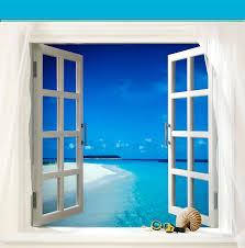 open door painting. Ocean Painting - Window View Open Door To Paradise By Elaine Plesser