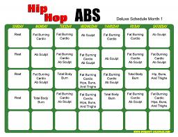 Hip Hop Abs Workout Chart Hip Hop Abs Schedule Deluxe Month 1 Workout Calendar Hip