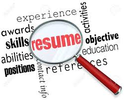 A Magnifying Glass Over The Word Resume Surrounded By Related
