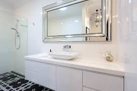 Beautiful frameless mirrorin Bathroom Modern with Elegant Kitchen