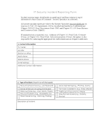 Computer Security Incident Report Template Souvenirs
