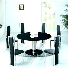 modern round dining table set black white chairs t