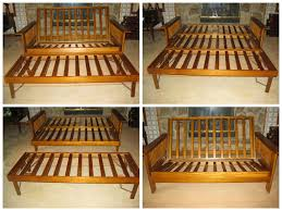 wooden futon assembly