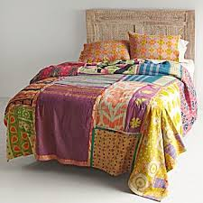 Vintage Kantha Quilt with Orange & Yellow Shams | quilt ... & Vintage Kantha Quilt with Orange & Yellow Shams Adamdwight.com