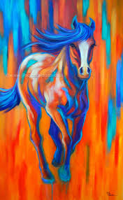 large abstract colorful horse painting by theresa paden