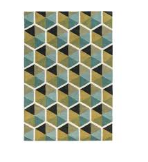 yellow throw rug 2 x 3 honeycomb illusion mustard yellow and teal blue hand tufted wool