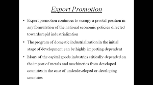 Export Promotion  Economics Homework Help by Classof  com